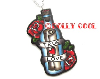 Message in a Bottle True Love Necklace by Dolly Cool Retro Vintage 50s Valentine Tattoo Style