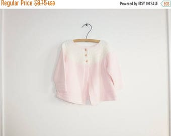 SALE // Vintage Pink and White Knit Sweater