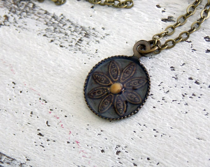 Mustard Seed of Faith...Antique Oxidized Brass Mustard Seed Round Pendant, Matching Brass Chain Necklace, Faith Necklace