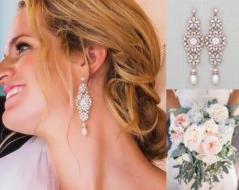 Long Rose Gold earrings, Rose Gold Bridal earrings, Wedding earrings, Statement earrings, Crystal earrings, Pearl drop earrings, SOPHIA