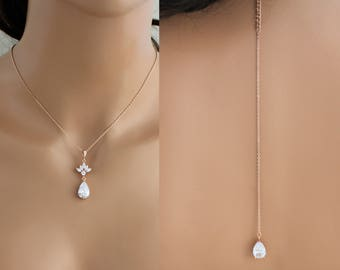 Rose gold back necklace, Bridal backdrop necklace, Bridal jewelry, Bridesmaid necklace, Back drop necklace, Wedding necklace, CZ necklace