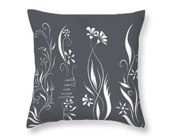 Flowers Pillow, Gray and White Art, Feminine Floral Home Decor, Decorative Throw Pillow, Living Room or Bedroom, Wildflower Cushion