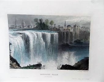 Antique 19th Century Engraving Genessee Falls Rochester NY Color Tinted Genesee