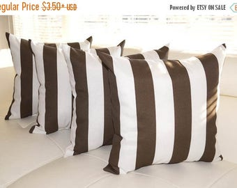 Brown Outdoor Pillow, Brown and White STUFFED Indoor/Outdoor Pillow, Brown Stripe Pillow, Vertical Stripe Outdoor Cushion - 4 Pk - Free Shi