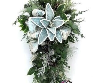 ON SALE Blue Christmas Swag, Blue Christmas, White Christmas, Christmas Swag, Door Decor, Christmas Poinsettia, Poinsettia Swag, Xmas Wreath
