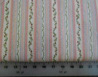 Fabric - Peony Tails by South Sea Imports - Pink Floral Stripe - CLEARANCE SALE!!!