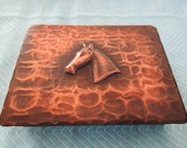 Antique CRAFTSMAN CO. Cigarette Box #503 Copper Horse Rustic Arts and Crafts Home Decor Collectible Tobacciana