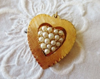 Vintage Heart Pendant 14K Gold Pearl Genuine Fine Jewelry
