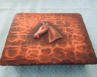 Antique CRAFTSMAN CO. Cigarette Box #503 Copper Horse Rustic Arts and Crafts Home Decor Collectible Tobacciana