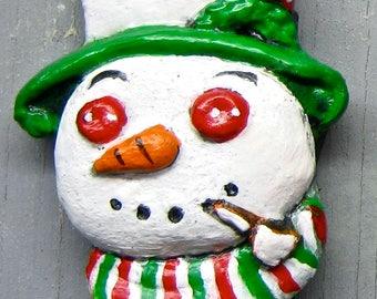 SNOWMAN CHRISTMAS MAGNET Handpainted Fridge Magnet Kitchen Folk Art