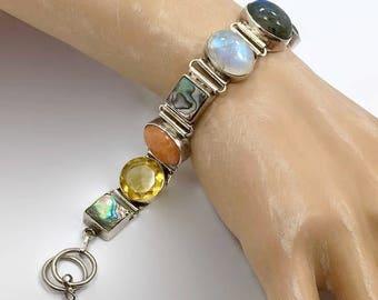 Moonstone Bracelet, Sterling Silver, Labradorite, Gemstone Bracelet, Multi Stones, Abalone, Vintage Bracelet, Mixed Stones, Linked Bracelet