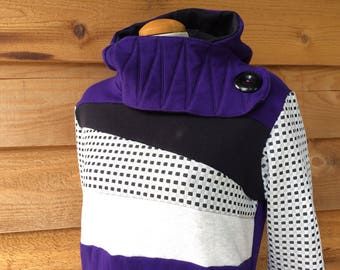 Hoodie Sweatshirt Sweater Handmade Recycled Upcycled One of a Kind CHEAP THRILLS Ladies LARGE - Purple Black Checkers Pockets Cute