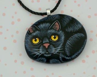 Black cat necklace cat jewelry cat costume hand painted pet rocks handpainted stone pendant crazy cat lady cat lover gift ideas