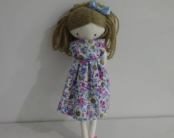 Handmade rag doll - handmade size pocket  plush toy cloth art doll, flower dreww and bow
