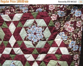 Summer Sale Kaleidoscope quilted wall hanging small lap wall art wheel chair quilt burgundy pink and green