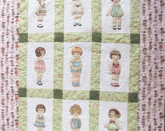 Childs Quilt Playmat  Toddler Blanket  Playset Baby quilt wall hanging Fabric paper dolls with clothes