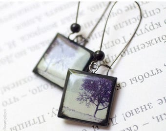 Winter Trees earrings - Black earrings - Winter jewelry  (E029)