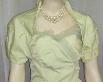 SUMMER SALE Vintage 1950's Tulle Lace Strapless Bombshell Prom Party Dress Green Bolero 50's Full Circle Skirt Small