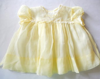 vintage baby girl's dress, 12 - 18 months, yellow, nylon/lace, 1950s, baby girl's clothing