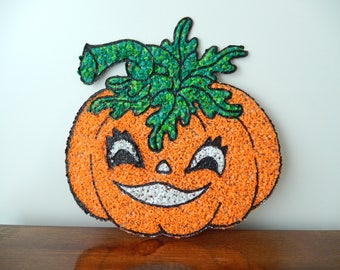 vintage Halloween decor, large pumpkin face, popcorn melted plastic, Halloween party, wall decor