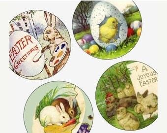 Weekly Sales Item - Victorian and Vintage Easter Images - One Inch (1x1) Round Pendant images - Digital sheet-pendant - Weekly Sale Promotio