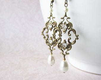 Antique Brass Filigree and Pearls Vintage Style Bridal Earrings | Wedding Jewellery for the Bride | Swarovski Earrings | Bridal Party