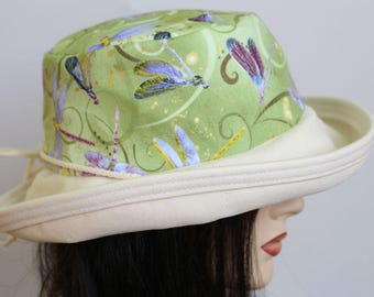 Sunblocker UV summer hat cotton sun hat with large wide brim featuring dragonflies with adjustable fit