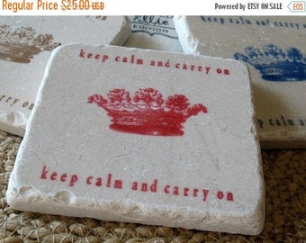 XMASINJULYSale Keep Calm and Carry On Tile Coasters - Set of 4 Drink Coasters - Ready to Ship