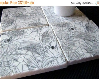 XMASINJULYSale Spiderweb Drink Coasters - Halloween Decor - Halloween Party Hostess Gift - Absorbent Tile Coasters