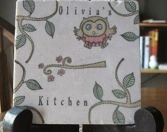 XMASINJULYSale Personalized Kitchen Trivet - Opal the Owl - Woodland Home Decor