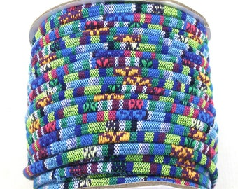 4mm tribal fabric cord in blue, purple, magenta, green, yellow and white. 5 feet