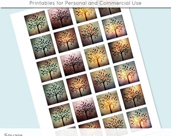 Mystic Trees 1x1 Inch Squares and 1.5 Inch Squares Digital Collage Sheet for Glass Resin Pendant Charms JPG 1 Inch