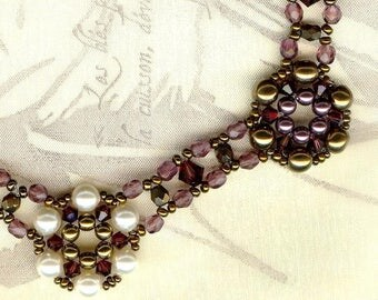Necklace ✿MARTINE✿ BURGUNDY & mother of Pearl & BRONZE ✿ K016