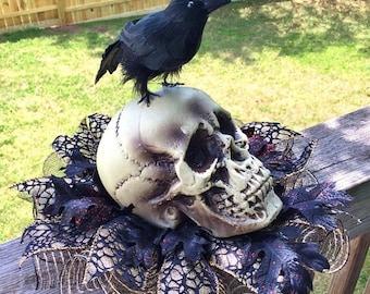 SALE- Skull Raven Crow - Fall Halloween Centerpiece