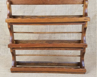 Vintage wood spice rack 3 tier shelf wall mount cottage brown kitchen