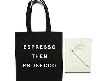espresso then prosecco, prosecco gift, bridesmaid gift, bachelorette gift idea, canvas tote bag, bridal party tote bags, gift for her