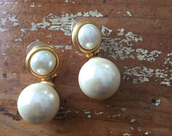 The Vintage Faux Pearl Gold Plated Dangle Drop Costume Jewelry Earrings