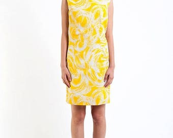 40% OFF CLEARANCE SALE The Vintage Canary Yellow Swirl Shift Dress