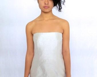 40% OFF The Beige Silk Strapless Dress