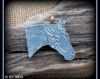 "Quarter Horse Jewelry, Kiln Fired Earthenware, Ceramic Pendant Approx 2.25"" Wide"