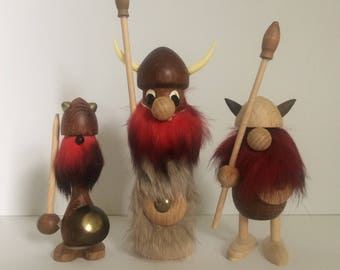 Set of Three Wooden Vikings, Instant Collection
