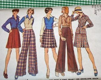 "Vintage 1970s Sewing Pattern, Simplicity 5855, Misses' Vest, Shirt, Short Skirt and Pants, Misses' Size 12, Bust 34"""