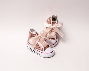 Sequin - Toddler - Converse Rose Gold Canvas Hi Top Sneakers Shoes with Satin Ribbon Laces