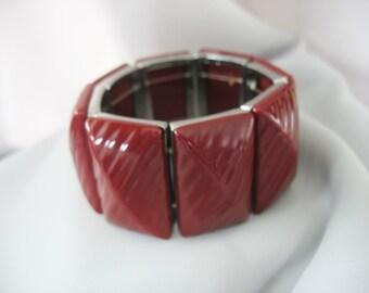 Chunky Stretch Bracelet, Burgundy, Textured Rectangles, Dimensional, Silvertone, 1990s, Heavy Links, Statement Jewelry
