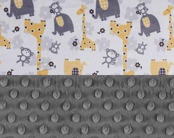 SALE Animal Minky Baby Blanket, Personalized Baby Blanket  - Gray Yellow Elephant Giraffe Stroller Blanket - Nursery Decor / Elephant Blanke