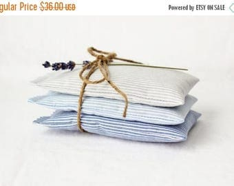 SALE Nautical Lavender Sachets, Striped Blue Ombre Mini Pillows, Seaside Cottage Decor