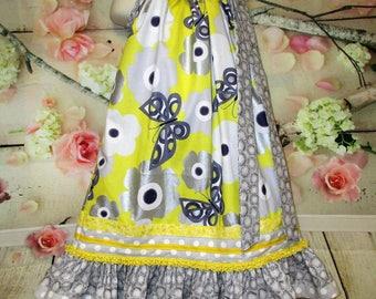 Girls Dress 6/7 Yellow Gray Silver Pop Flowers Pillowcase Dress, Pillow Case Dress, Sundress, Boutique Chair