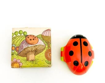 COLLECTIBLE CLOSEOUT SALE Vintage Red Ladybug Solid Perfume Avon Company Plastic Case Her Prettiness