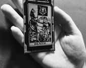 Cat Death tarot card lapel pin in silver and black