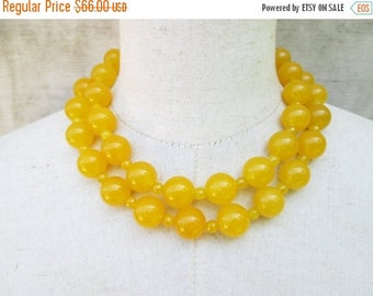 XMAS in JULY SALE Chunky Double Strand Dark Yellow Beaded Necklace, Goldenrod Gemstone Beads Mustard